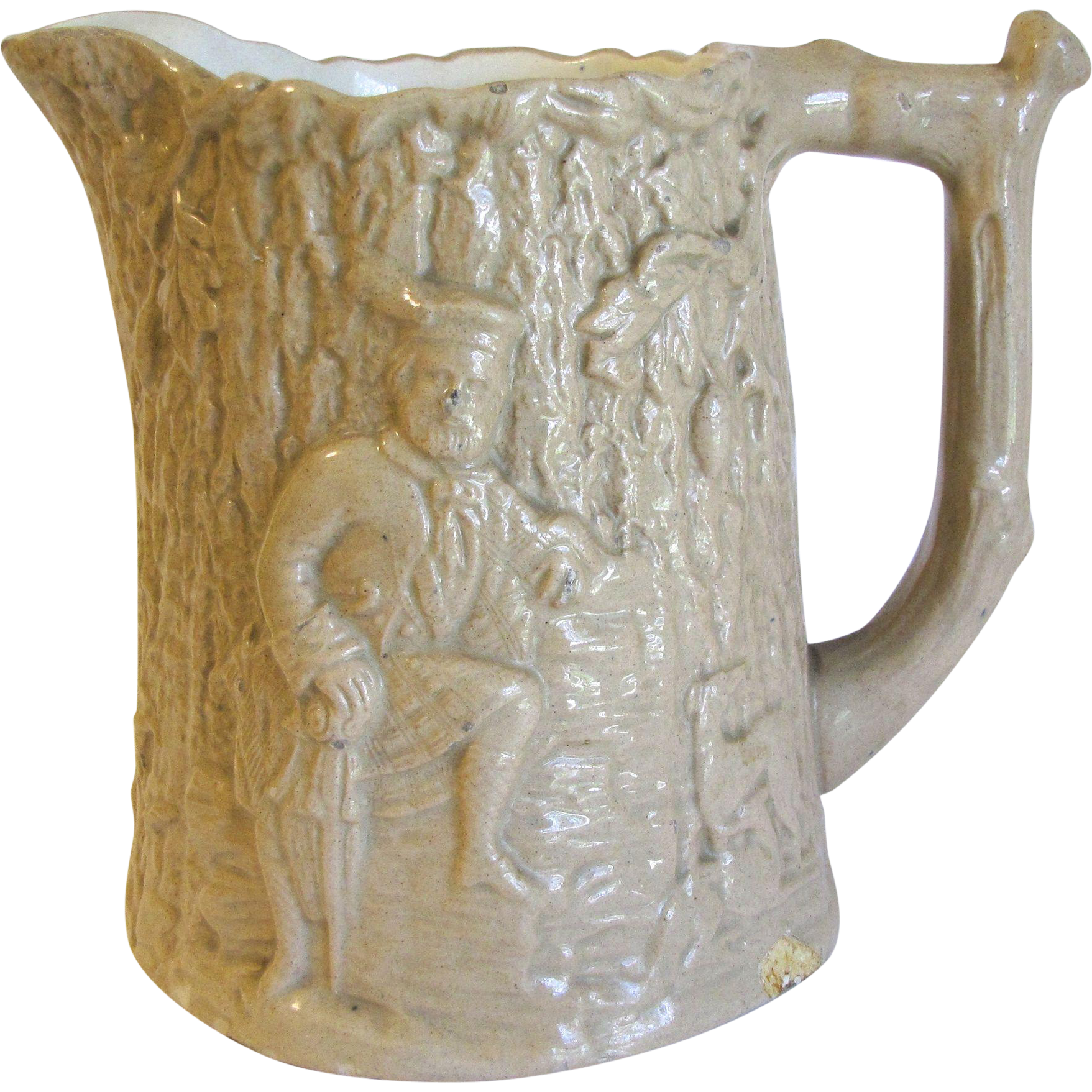 Vintage Milk Pitcher, Raised Design Man with Two Dogs