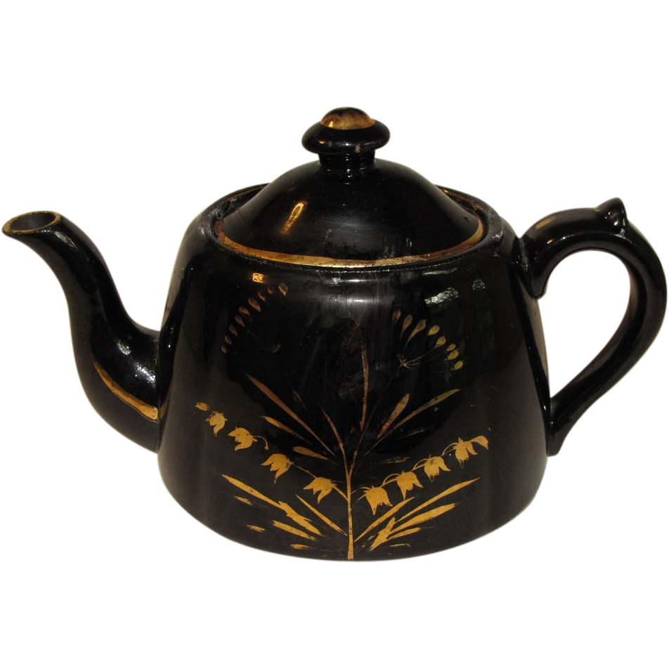Vintage Black English Teapot, Gilded Decoration