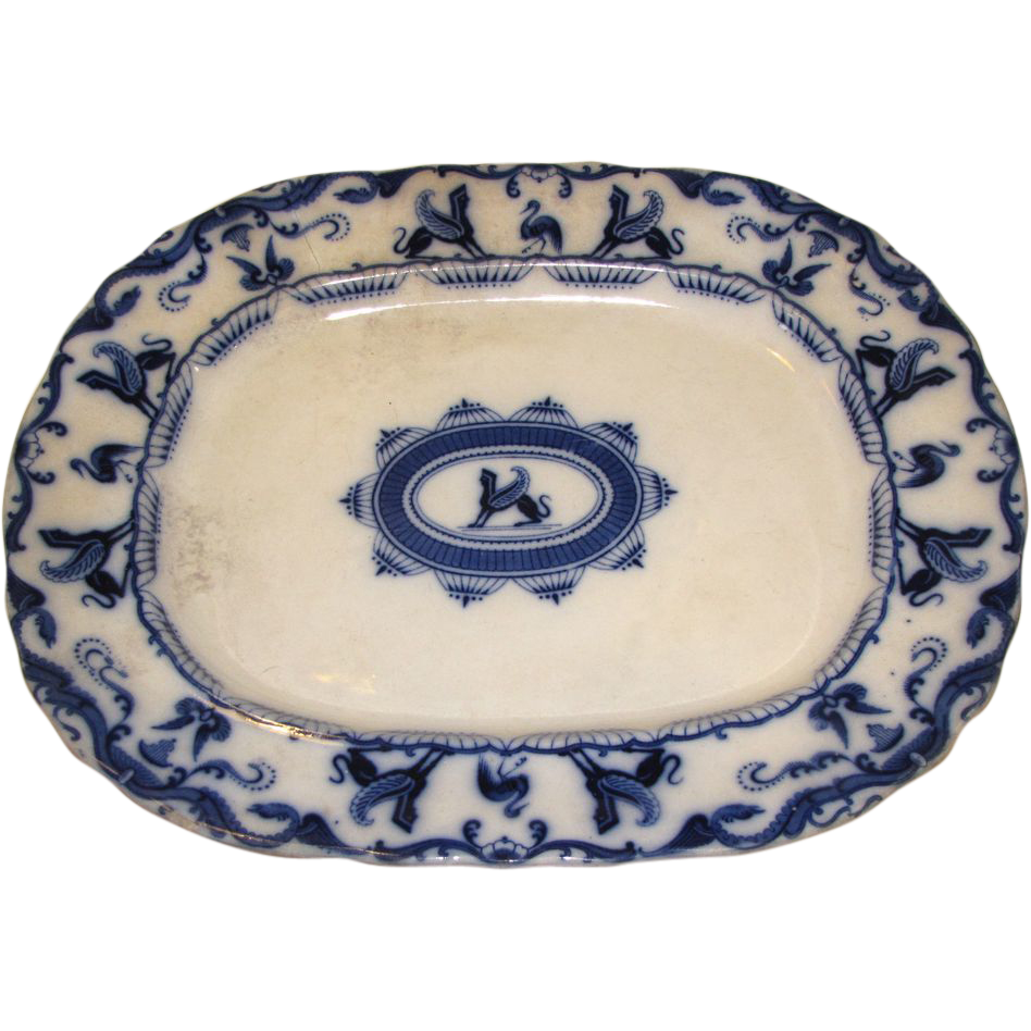 Large Flow Blue Platter, SPHINX, Charles Meigh 1835-49