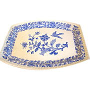 Vintage Blue Printed Platter, Flowers and Bird