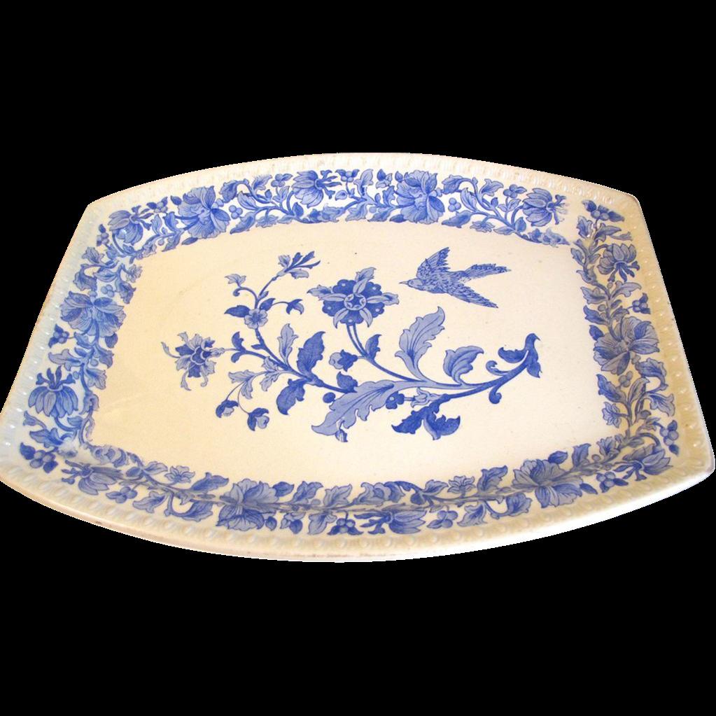 Vintage Blue Printed Platter, Flowers and Bird