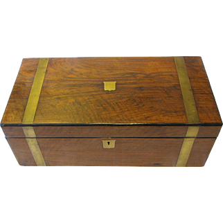 Antique Campagne Style Wood Box with Brass Stapping