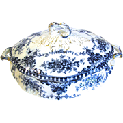 Lovely Flow Blue Vegetable Bowl w/Lid CORONET S. H. & Sonds 1895