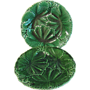 Antique Green Majolica Plate, Copeland (2 Available)