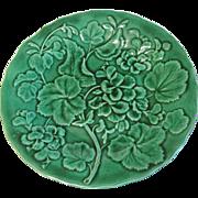Lovely Green Majolica Plate, GERANIUM