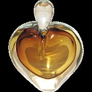 Lovely Vintage Art Glass Perfume Bottle, Amber