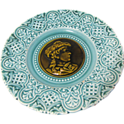 Vintage Majolica Plate, Turquoise with Olive-Brown Center, Cameo Design