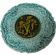 Vintage Majolica Plate, Turquoise with brown-olive Center, Drqwfs