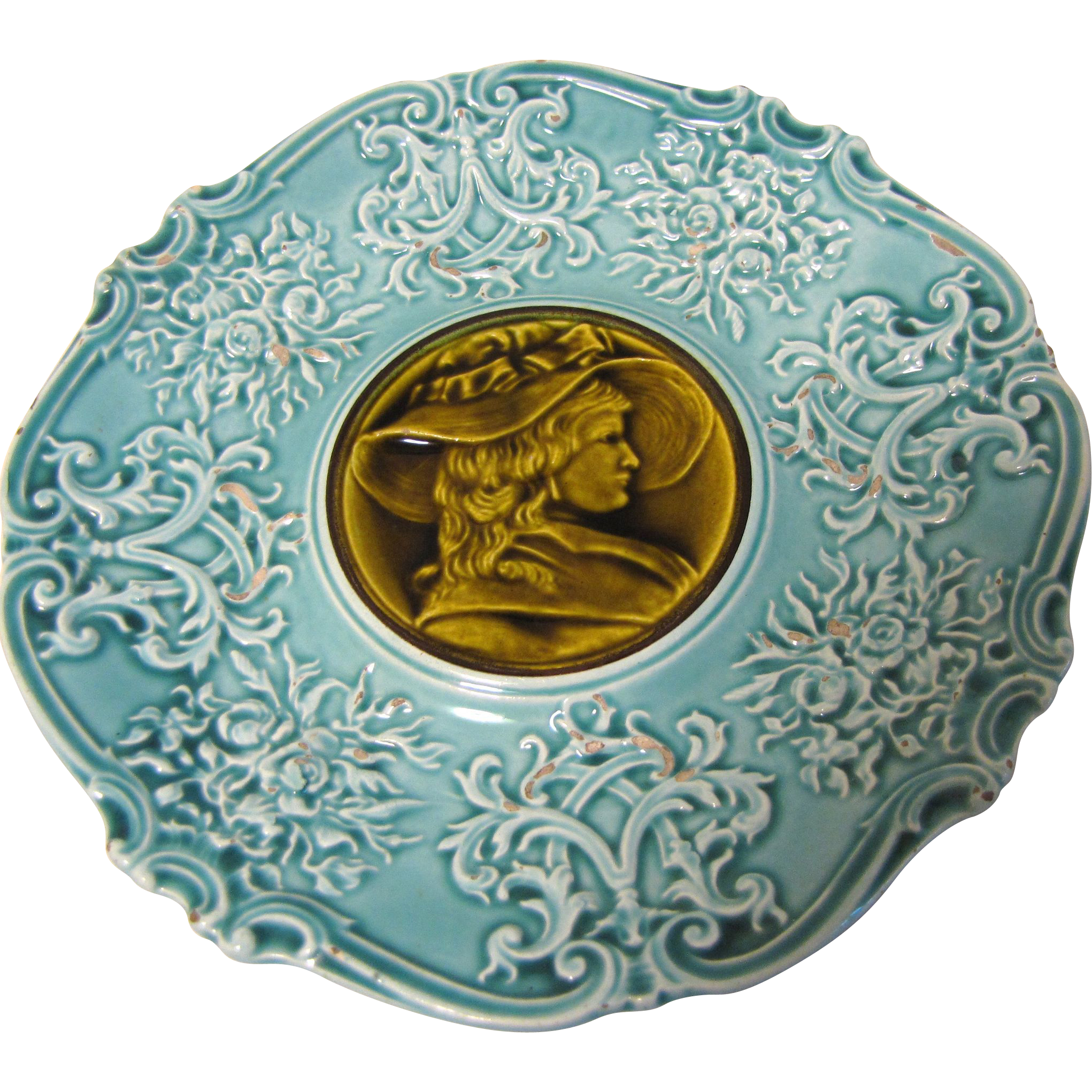 Vintage Majolica Plate, Turquoise with Olive-Brown Center, Lady with Large Hat
