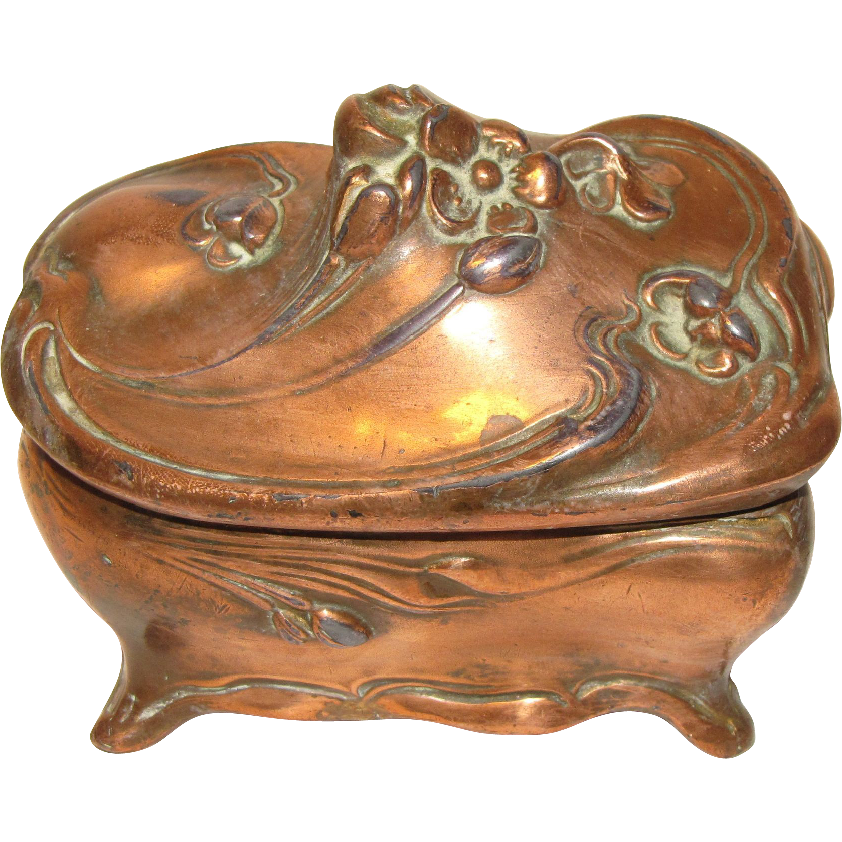 Vintage Art Nouveau Jewelry Box Copper J B Jennings from