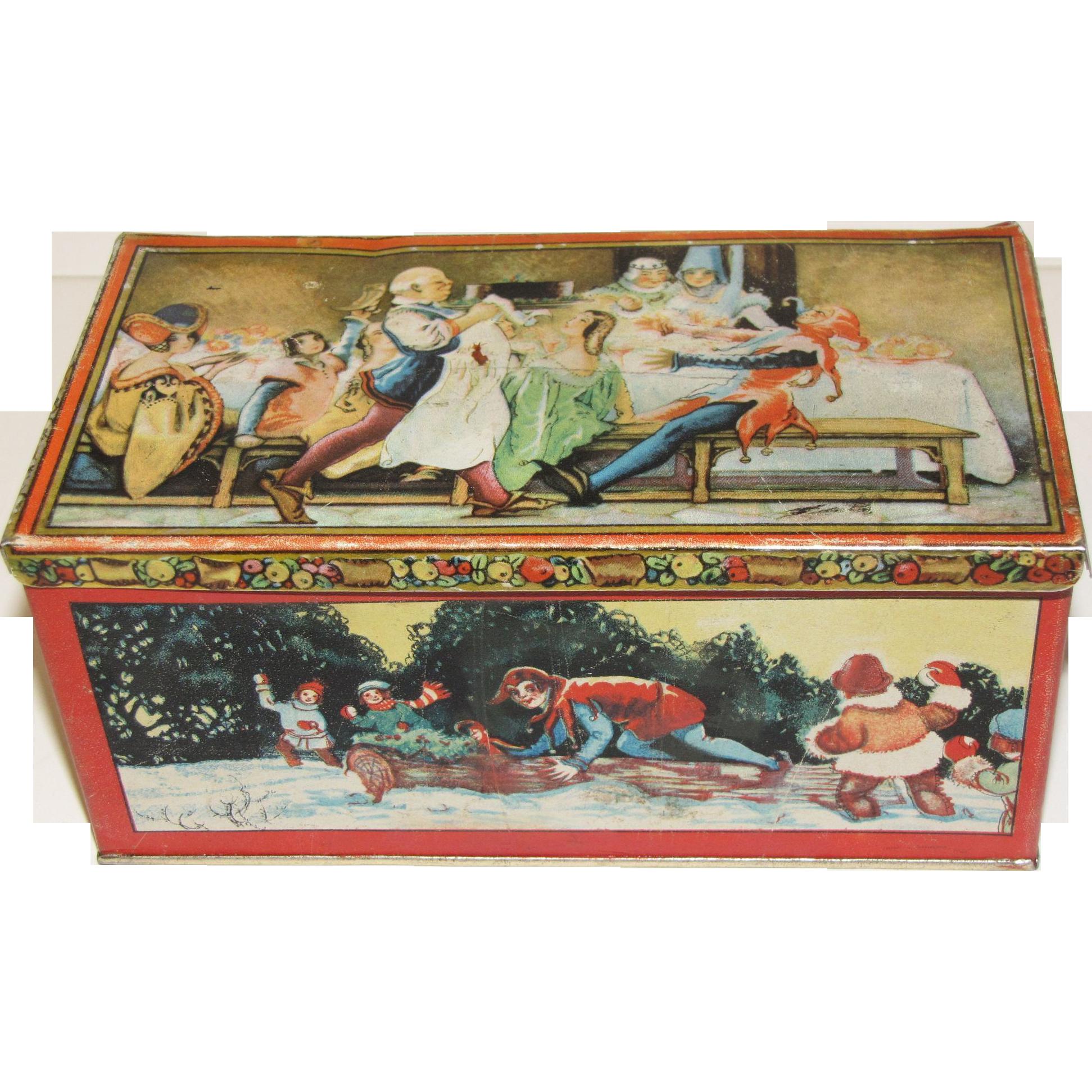 Vintage 1920's TINDECO Tin, Ye Christmas Feast