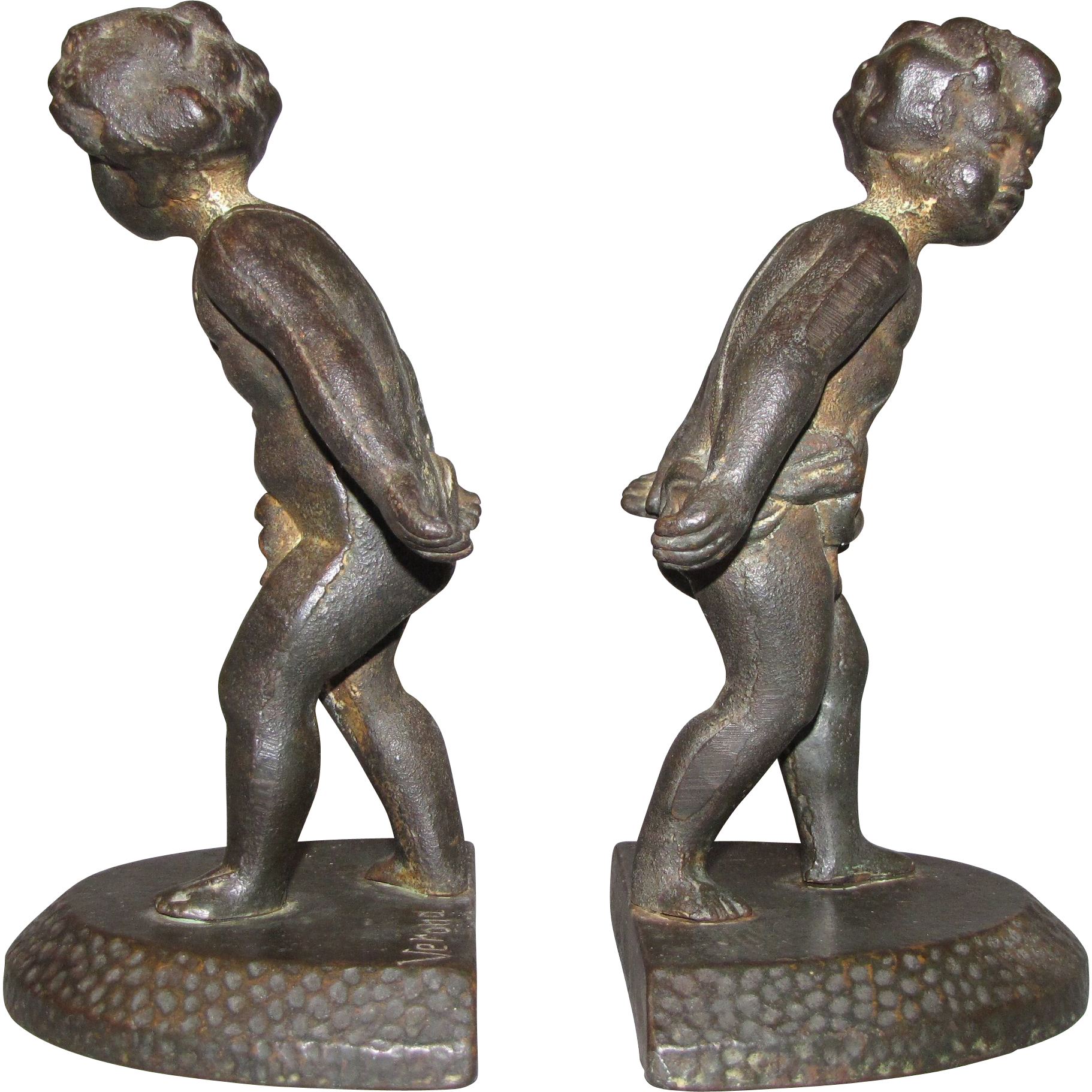 Lovely Pair of Cast Iron Cherub Bookends 1925 VERONA