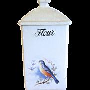 Circa 1920's BlueBird Canister, FLOUR, A. E. HULL Pottery