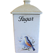 1920's Bluebird Sugar Canister, A. E. Hull  Bluebirds in Winter