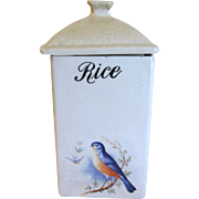Vintage BLUEBIRD RICE Canister A. E. Hull Circa 1920's