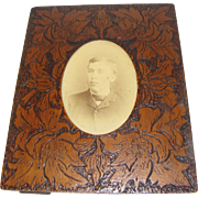 Vintage Rectangular Wood-Burned Photograph Frame, Floral