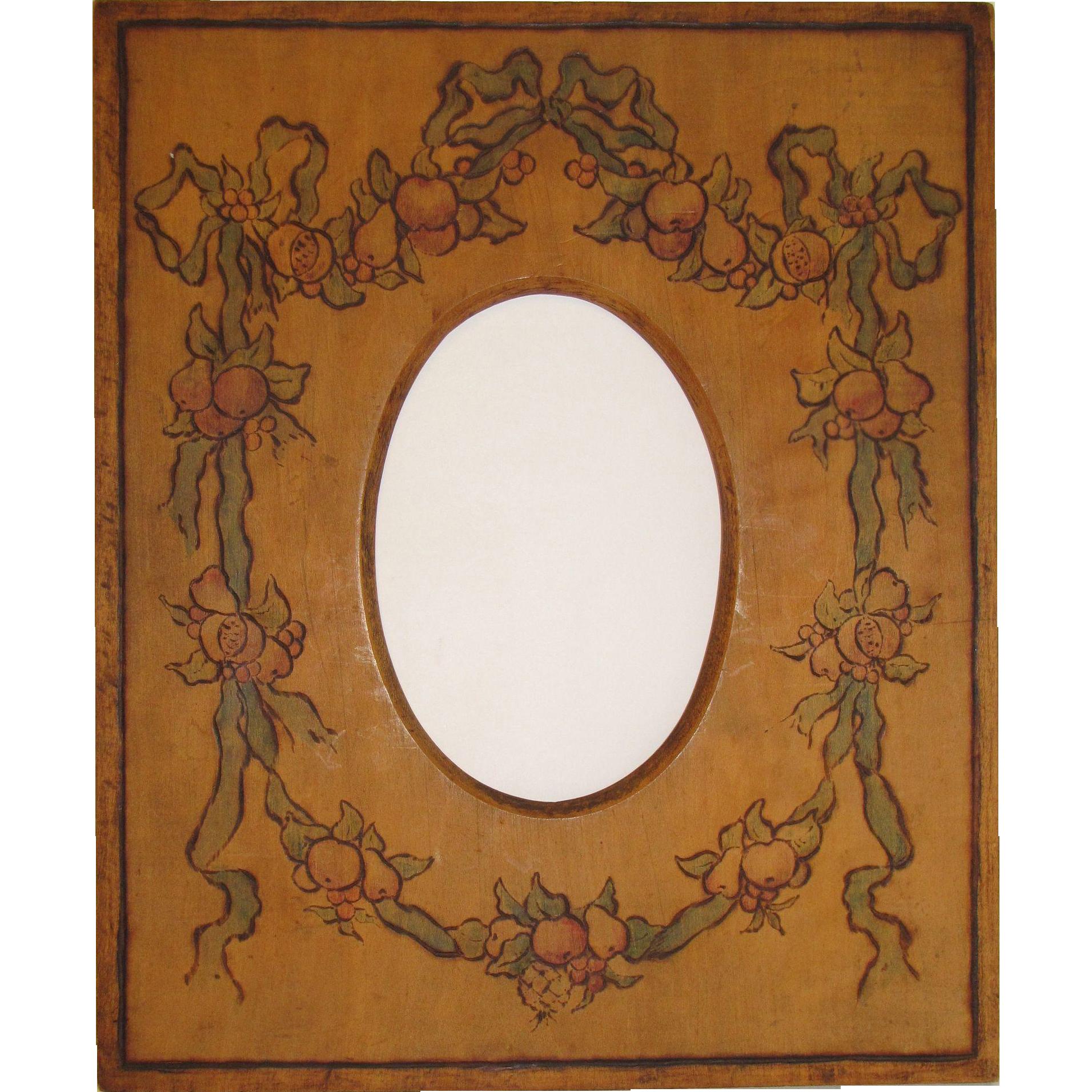 Vintage Pyrography Photograph Frame, Della Robbia Design