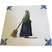 Vintage Delft Tile Royal Makkum Holland Woman w/ Broom