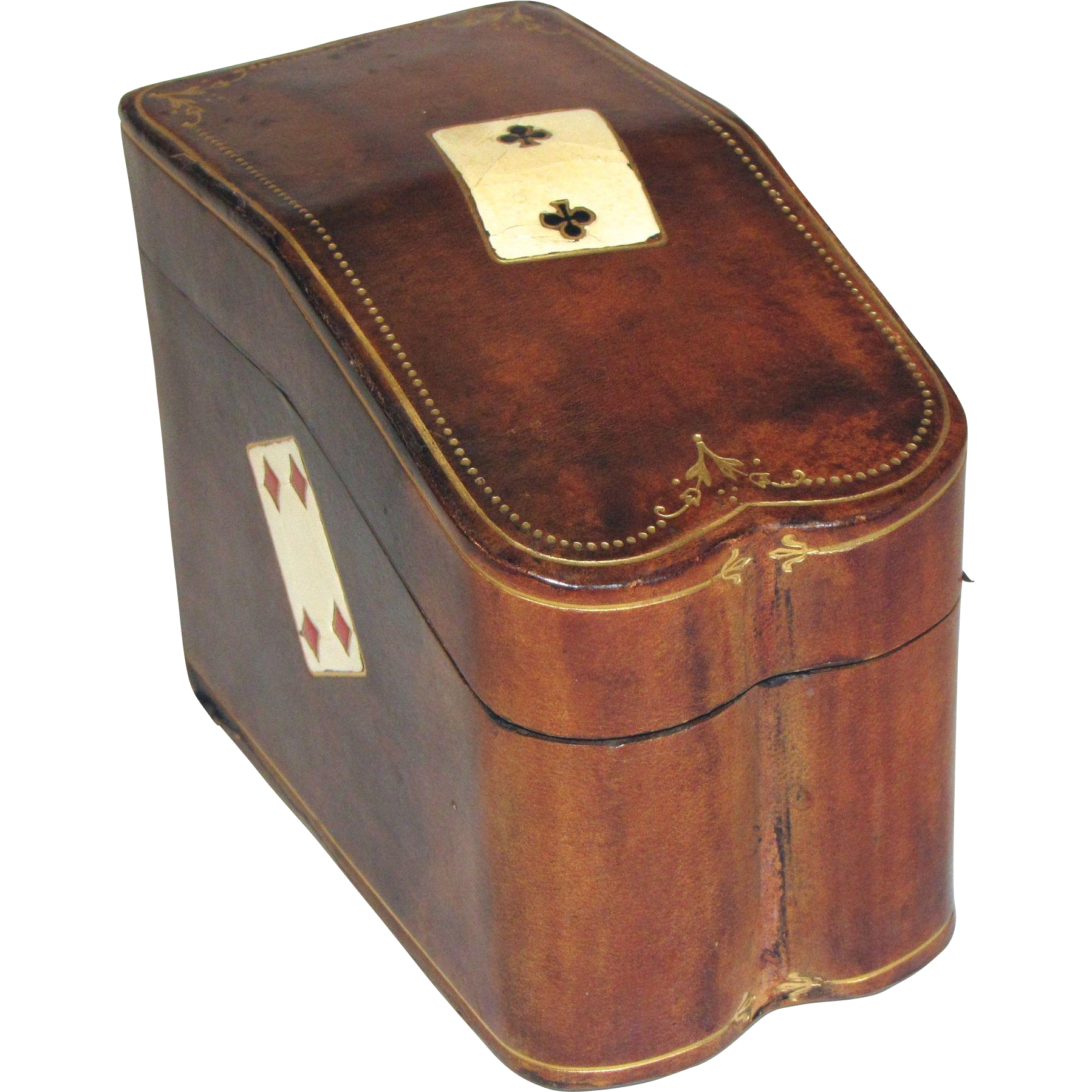 Vintage Leather Covered Playing Card Box, 2 Decks