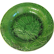 Early 20th Century Green Majolica Plate,  Leaves, Not Marked