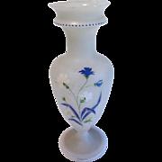 Lovely Large Frosted Bristol Glass Vase, CORNFLOWERS