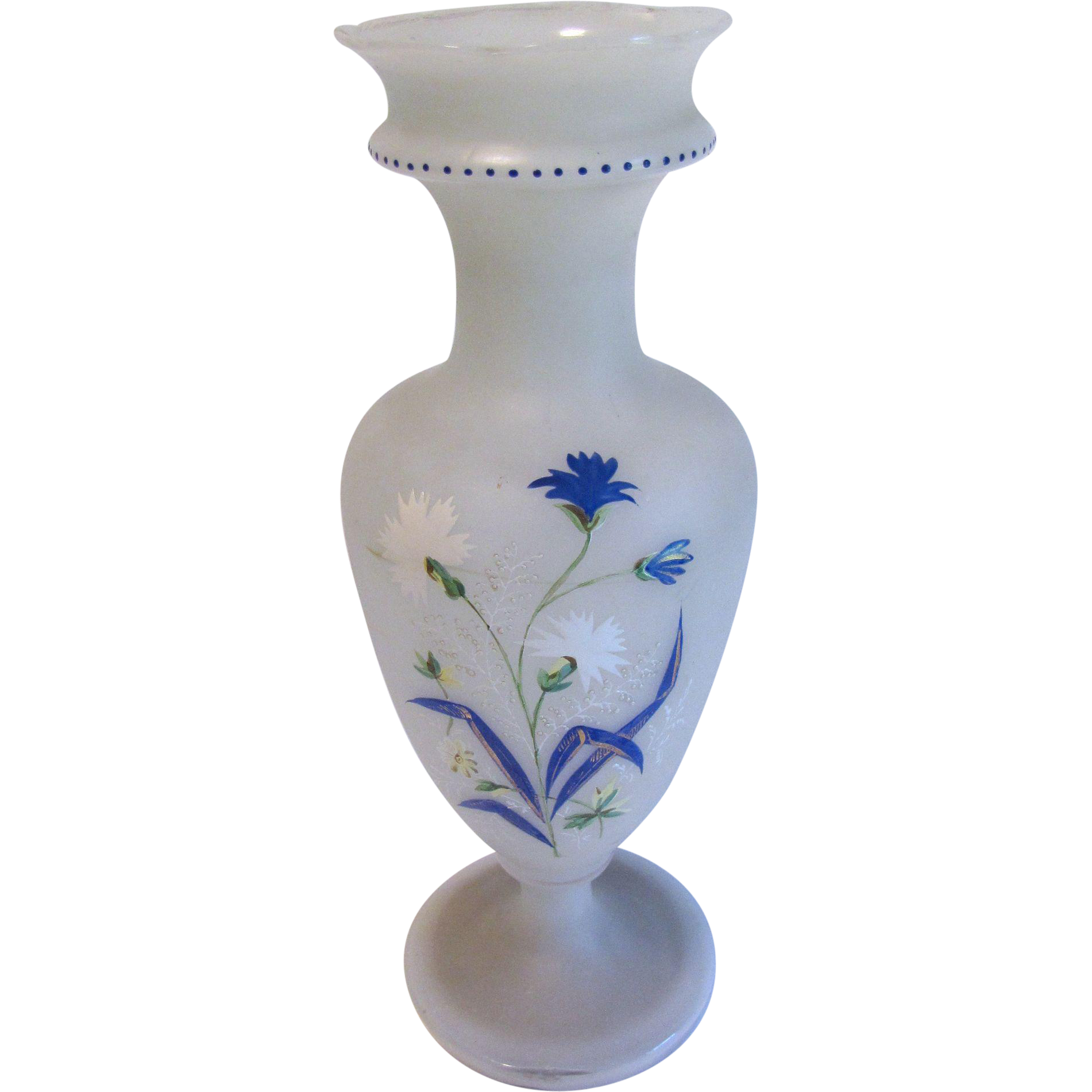 Lovely Large Frosted Bristol Glass Vase, CORNFLOWERS
