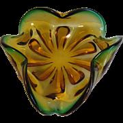 Lovely Mid-Century Green & Gold Murano Art Glass Dish Bowl Ash Tray