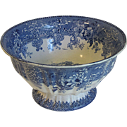 19th Century Blue Transferware Center Pedestal Bowl, Romantic Landscape