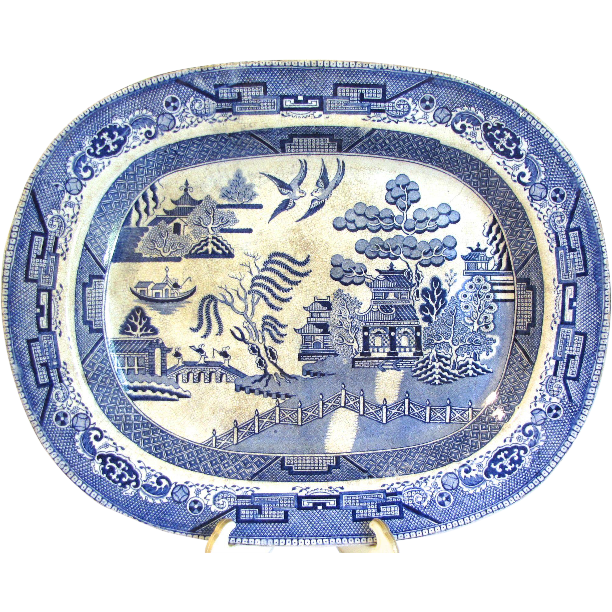 Antique English Blue Willow Platter, Unmarked
