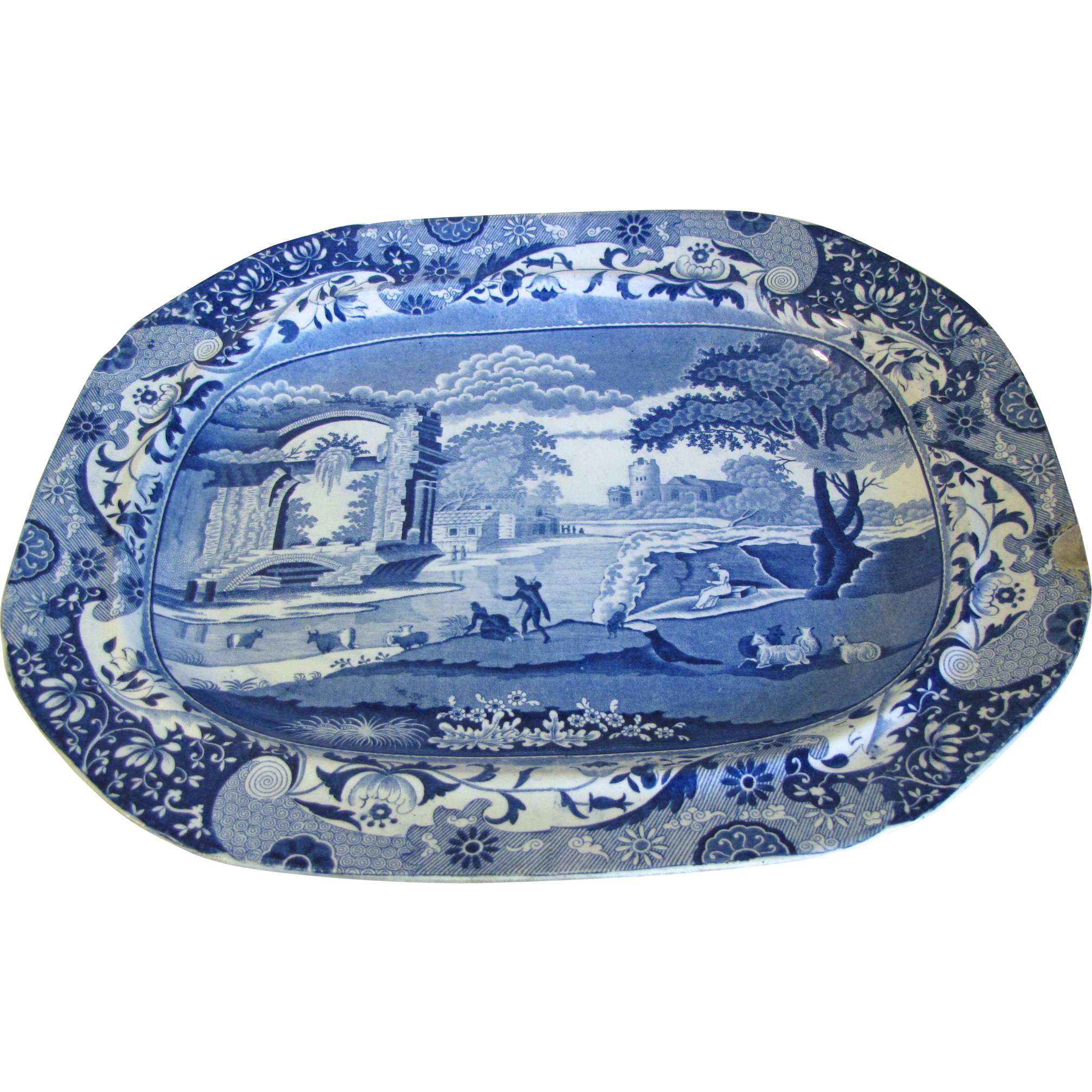 Very Large Antique Spode's Italian Blue Transferware Platter