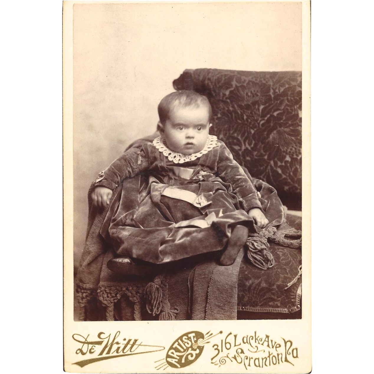 Cabinet Photograph Card of Baby Dressed in Velvet
