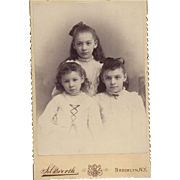 Cabinet Photograph Card of 3 Young Girls (Sisters)