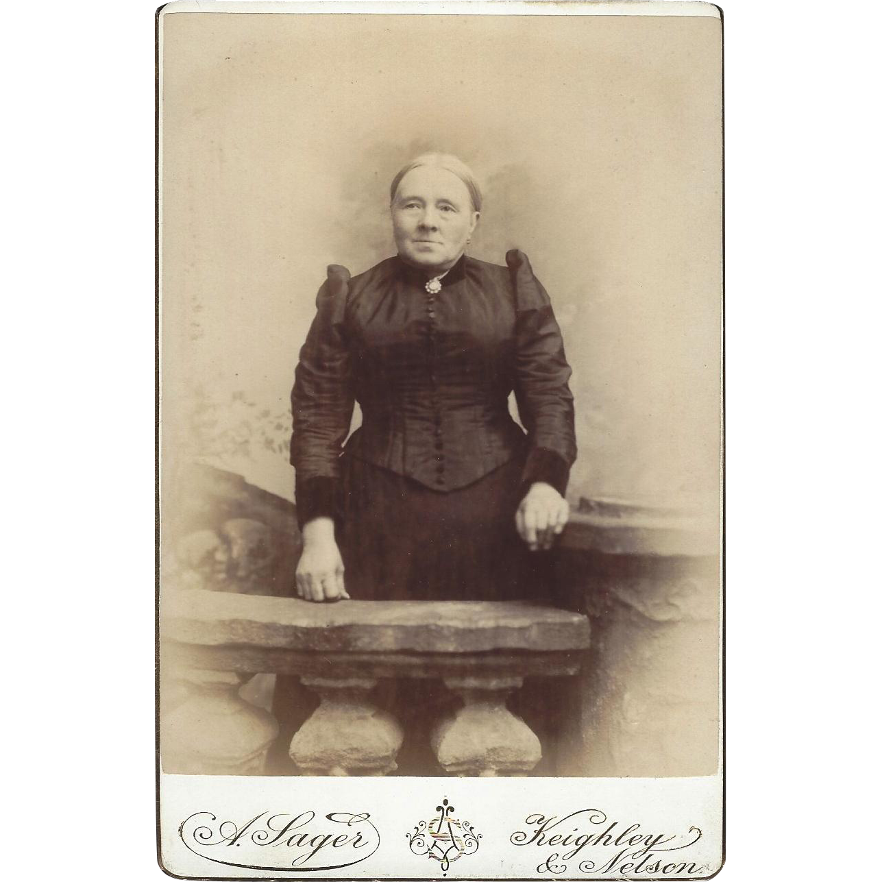 Photograph Card of Older Woman Victorian Dress Sager