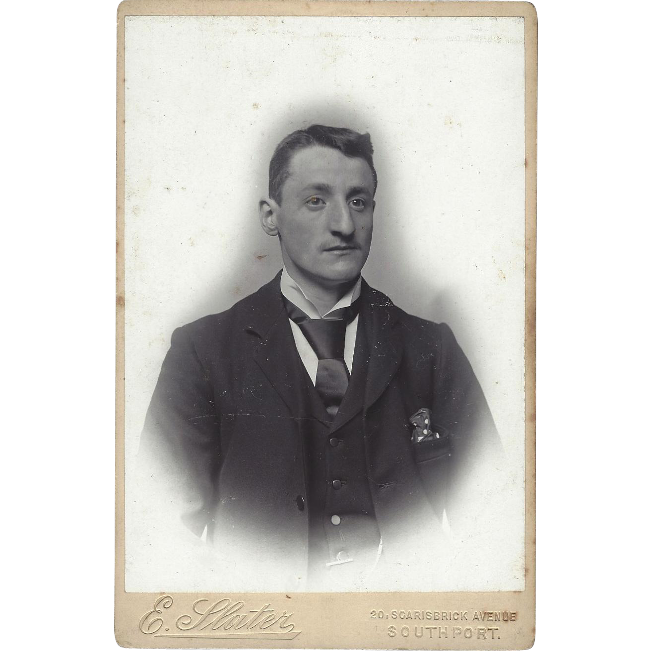 Cabinet Photograph Card Distinguished Young Man, E. Slater