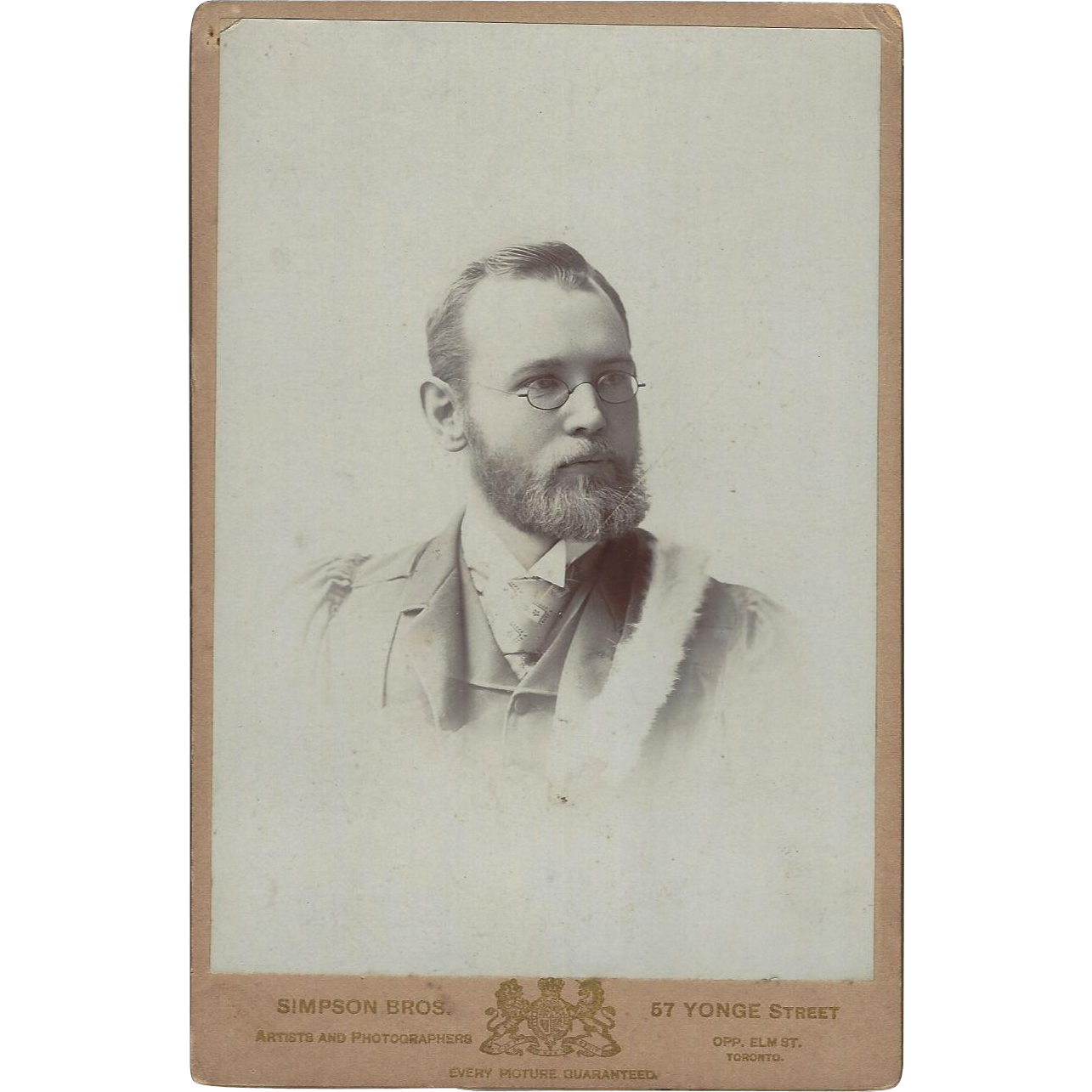 Cabinet Card, Young Man with Beard and Glasses Toronto