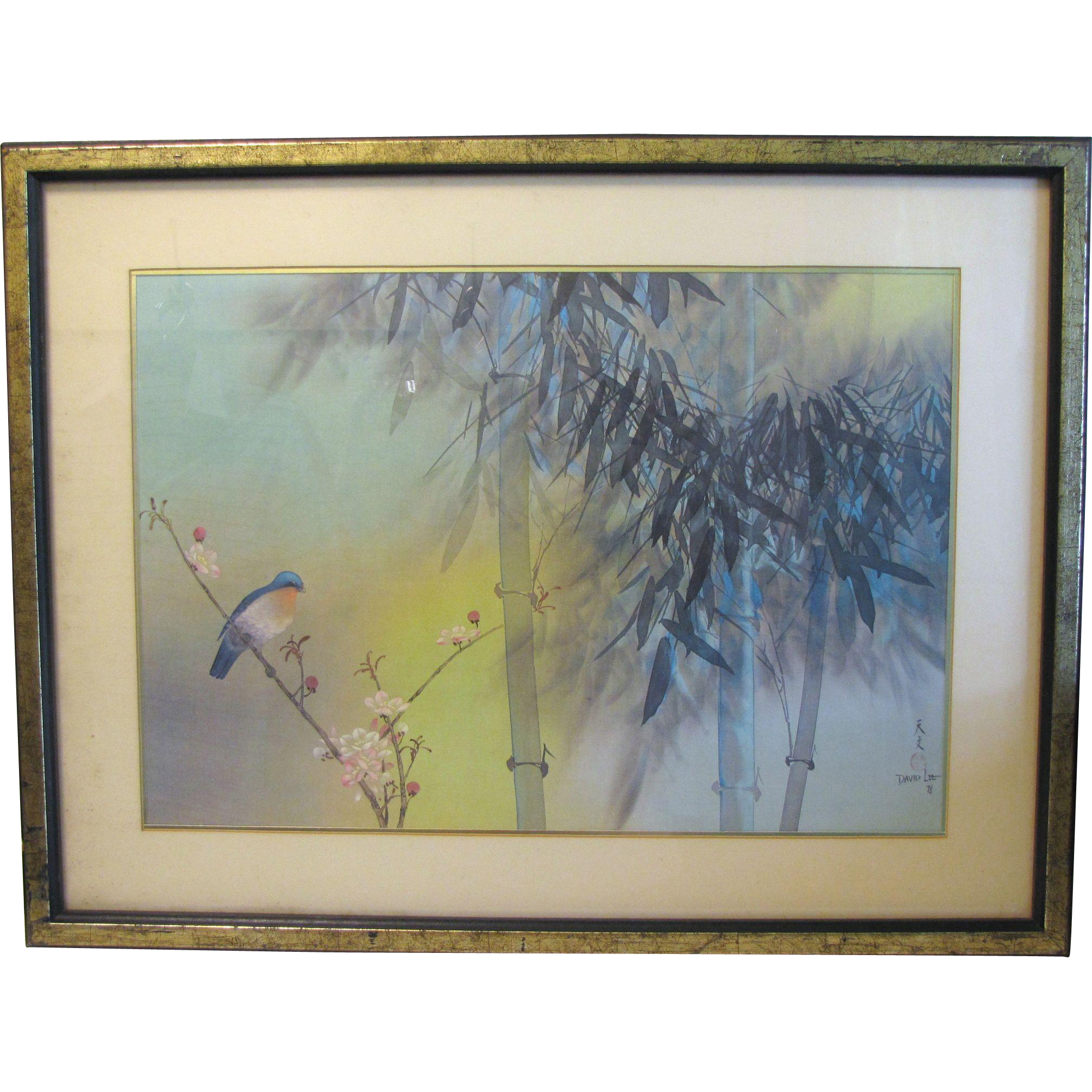 Gorgeous David Lee Print, Spring Bamboo, Framed & Matted, 1978