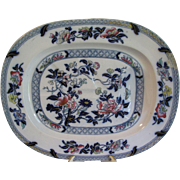 Huge Meat Platter, PEARL, Oriental Design, Enameled of Cobalt Blue