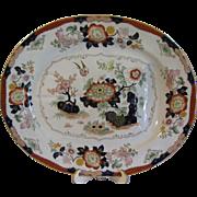 Very Large Enameled Oriental Design Meat Platter, ASHWORTH Bros. ca. 1880