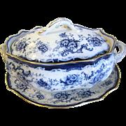 Large Flow Blue Soup Tureen, Lid, and Under-platter.  ELSIE by Hulme & Christie