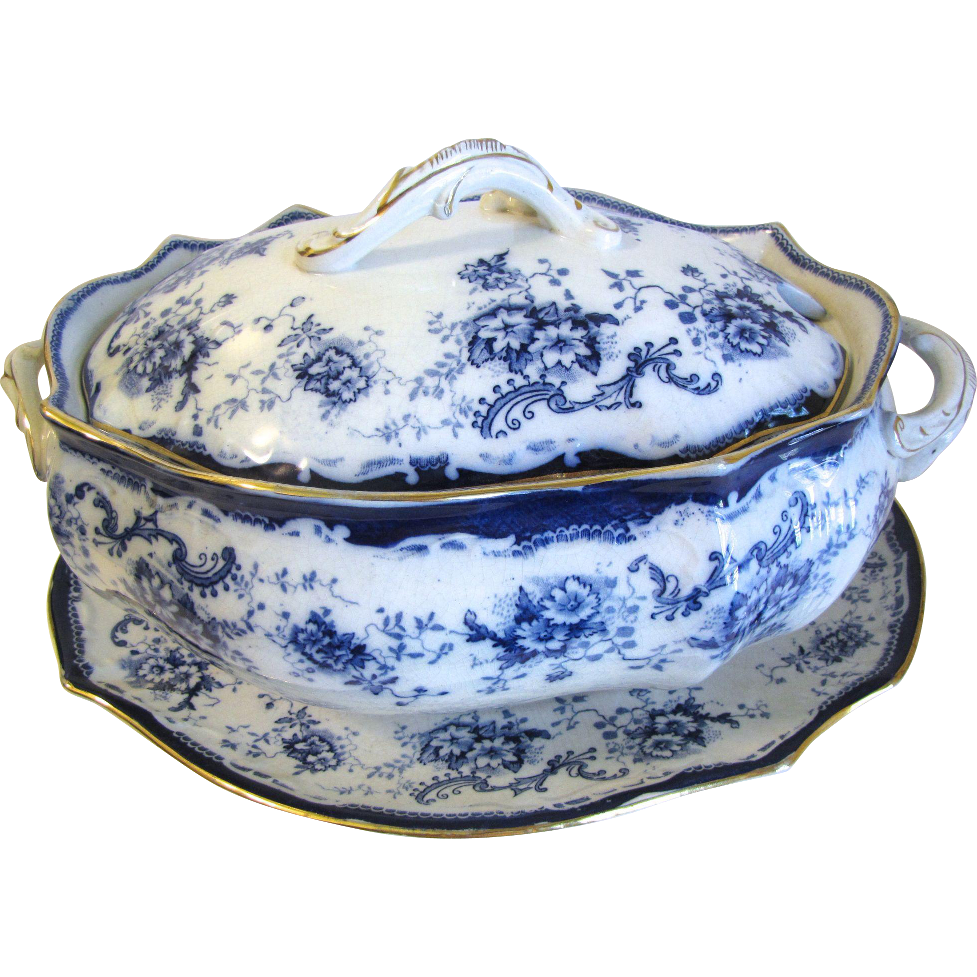 Large Flow Blue Soup Tureen, Lid, and Under-platter.  ELSIE by Hulme & Christie