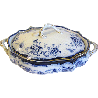 Lovely Floral Flow Blue Vegetable Bowl with Lid (2 Available) ELSIE