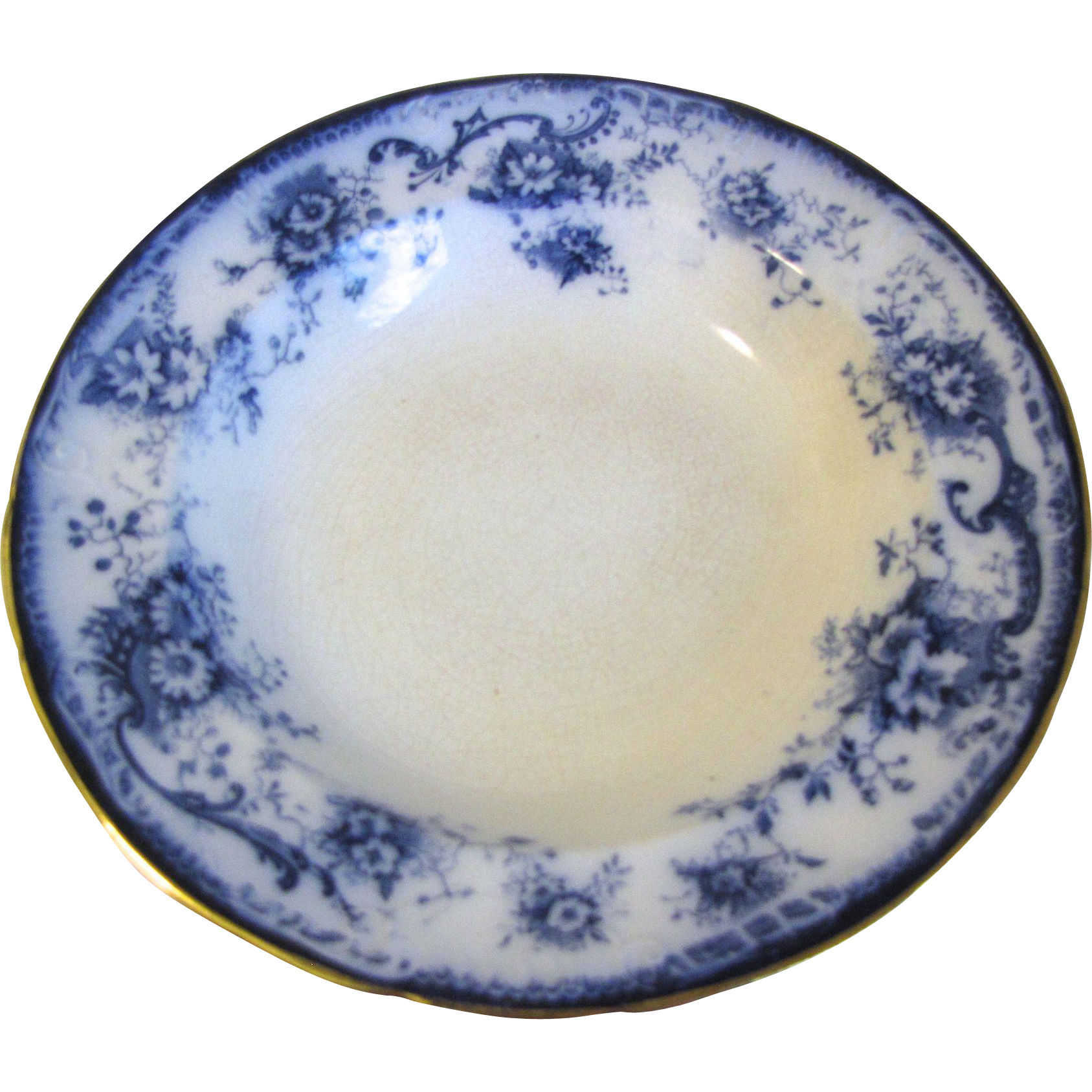 Pair of Flow Blue Small Soup Plates ELSIE Hulme & Christie