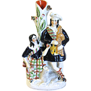 Antique Staffordshire Spill Vase, Man Woman, and Sheep