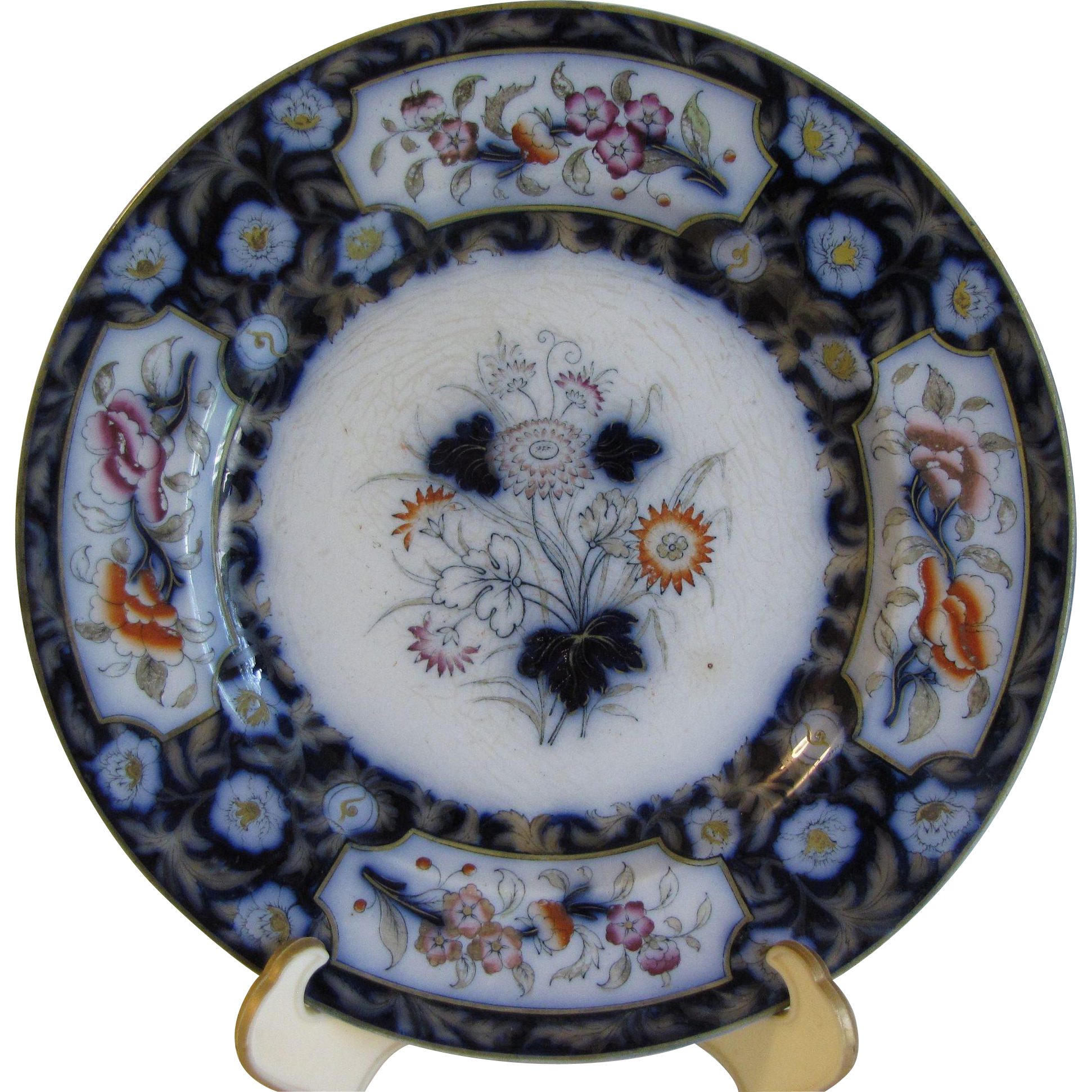 Lovely Antique Flow Blue Floral Plate, BIRMAH