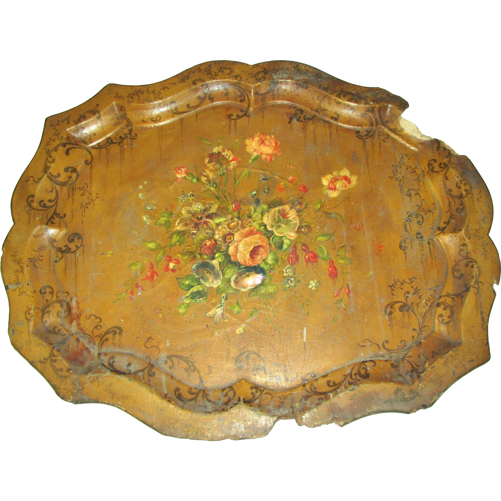 antique english papier mache tole tray mop huge from tomjudy on ruby lane. Black Bedroom Furniture Sets. Home Design Ideas