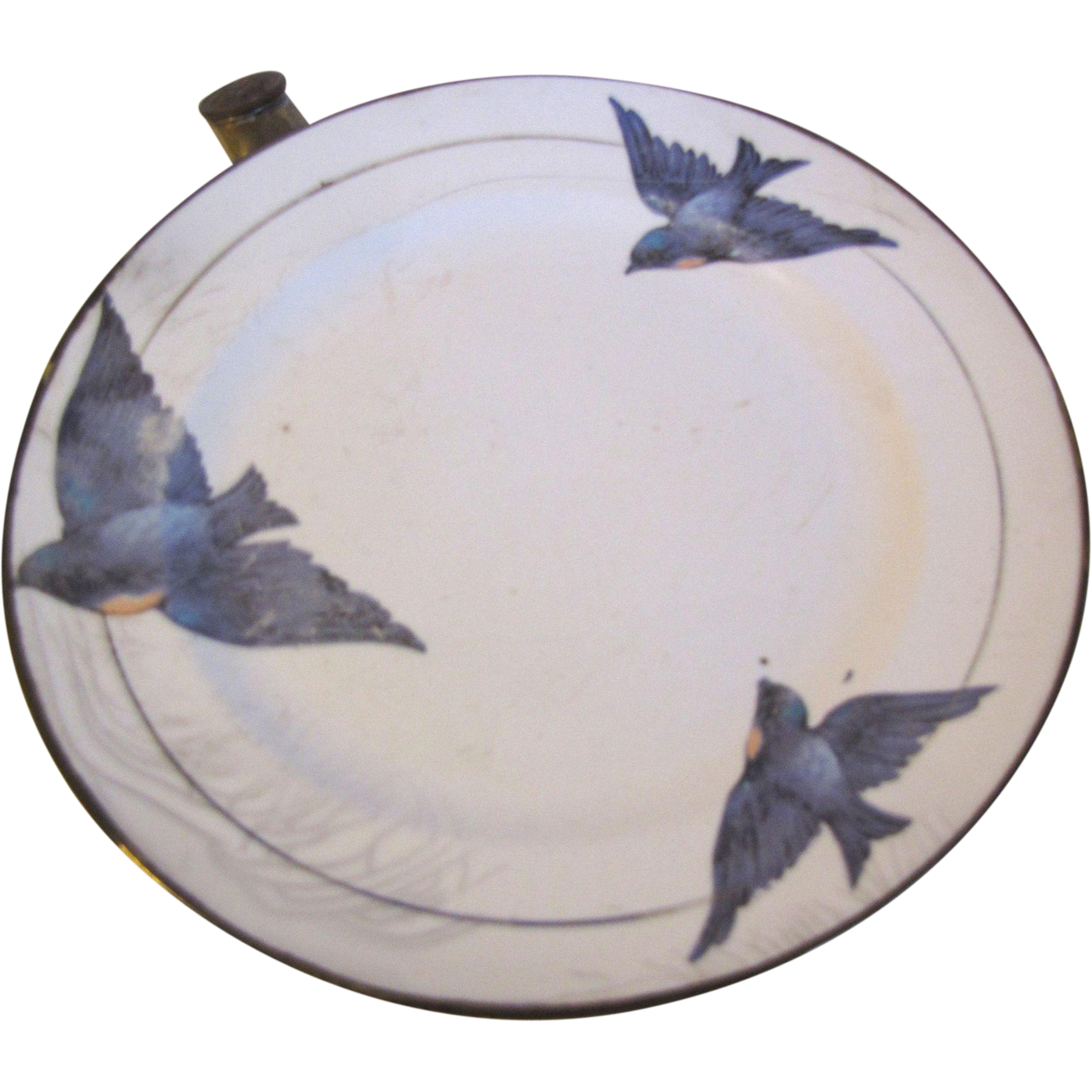 "Vintage 1920""s Child's Warming Dish, BlueBird, Not Marked"