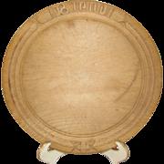Vintage Round Wooden Bread Board Carved, European