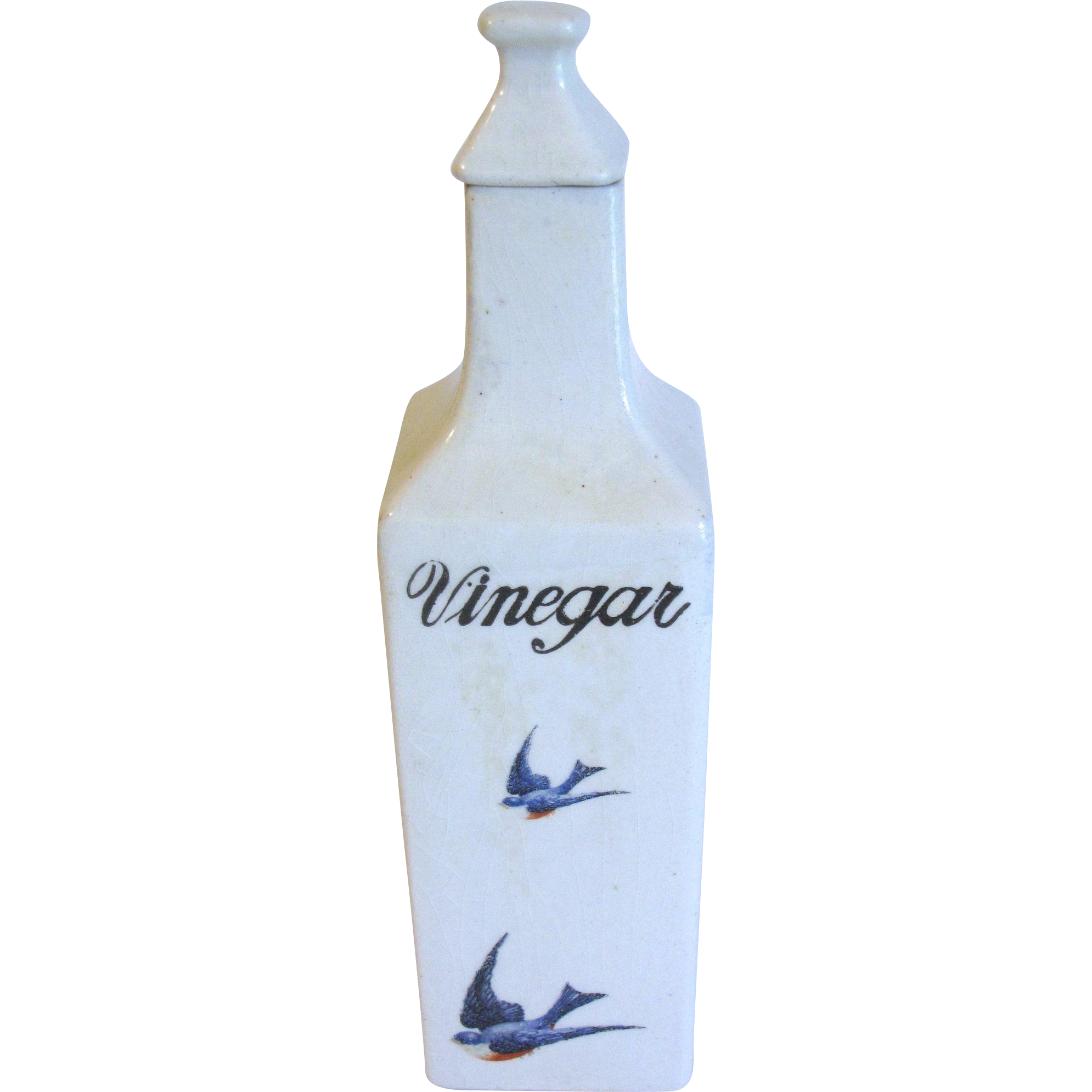 Vintage Ceramic Vinegar Cruet, BLUEBIRD, Hull Pottery, 1920's