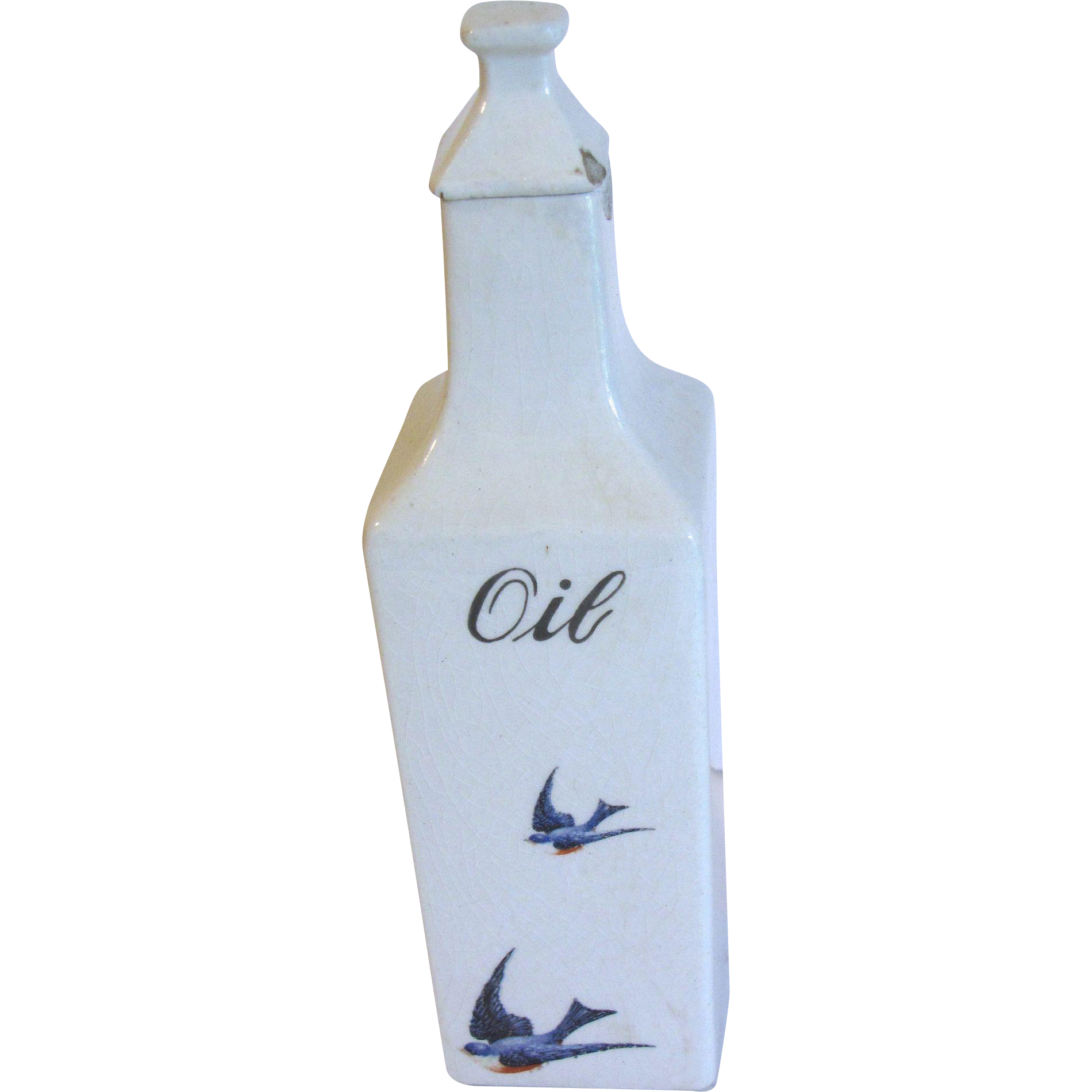 1920's Ceramic Oil Cruet Bottle w/Lid BLUEBIRD, Hull
