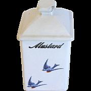 1920's Dry Mustard Ceramic Canister, BLUEBIRD, Hull Pottery
